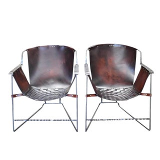 Custom Steel and Leather Hand-Forged Black and Brown Handmade Sling Chairs - a Pair For Sale