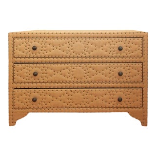 Burlap Wrapped Chest With Nailheads