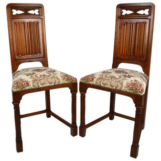 Late 19th Century Gothic Revival Chairs- A Pair For Sale