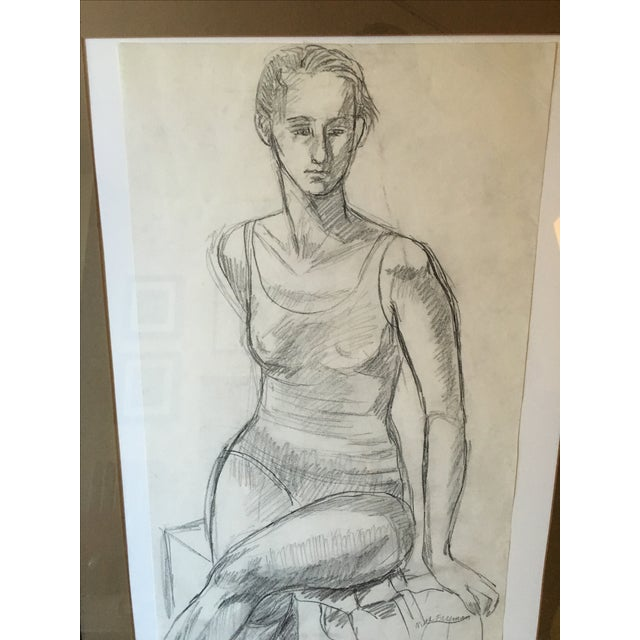 Framed Vintage Drawing of a Woman - Image 7 of 7