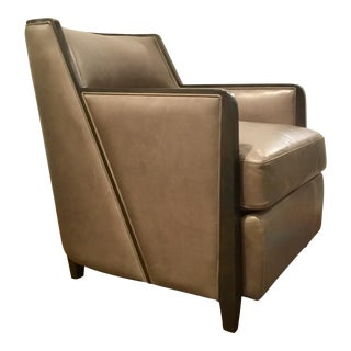 Caracole Modern Manhattan Taupe Leather Club Chair For Sale