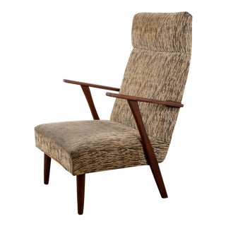 1960s Mid-Century Modern High-Back Chair For Sale