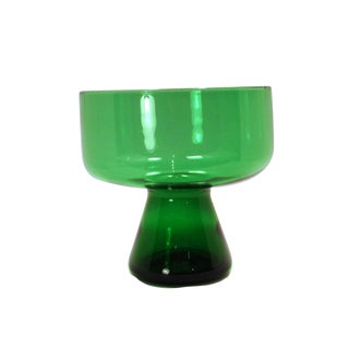 1960s Scandinavian Modern Green Glass Vase For Sale
