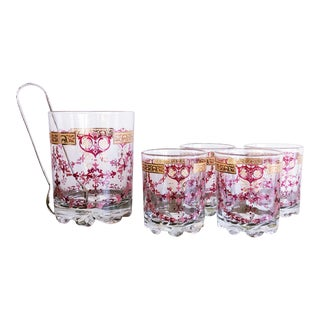 Italian Cerve Mid-Century Lowball Glasses and Ice Bucket Set For Sale