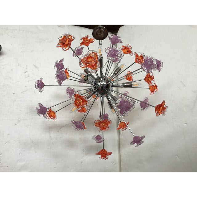 Contemporary Murano Glass Flowers Sputnik Chandelier For Sale - Image 12 of 12