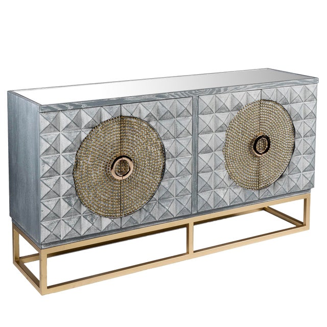 Metal Art Deco Zelda Studded Sideboard-Gray and Gold For Sale - Image 7 of 7