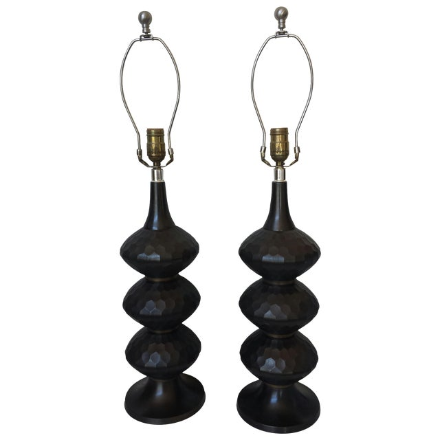 Burnished Brass Caterpillar Lamps - a Pair - Image 1 of 6