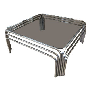 1970s Mid-Century Modern Design Institute of America Chrome Coffee Table For Sale