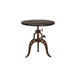 Iron Crank Coffee Table With Wood Top