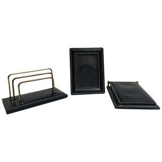 Vintage Desk Set, Black Leather and Brass Letter Rack, Picture Frame and Notepad For Sale