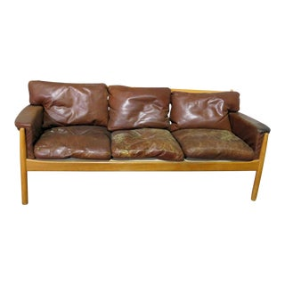 Vintage Mid Century Danish Distressed Leather Sofa For Sale
