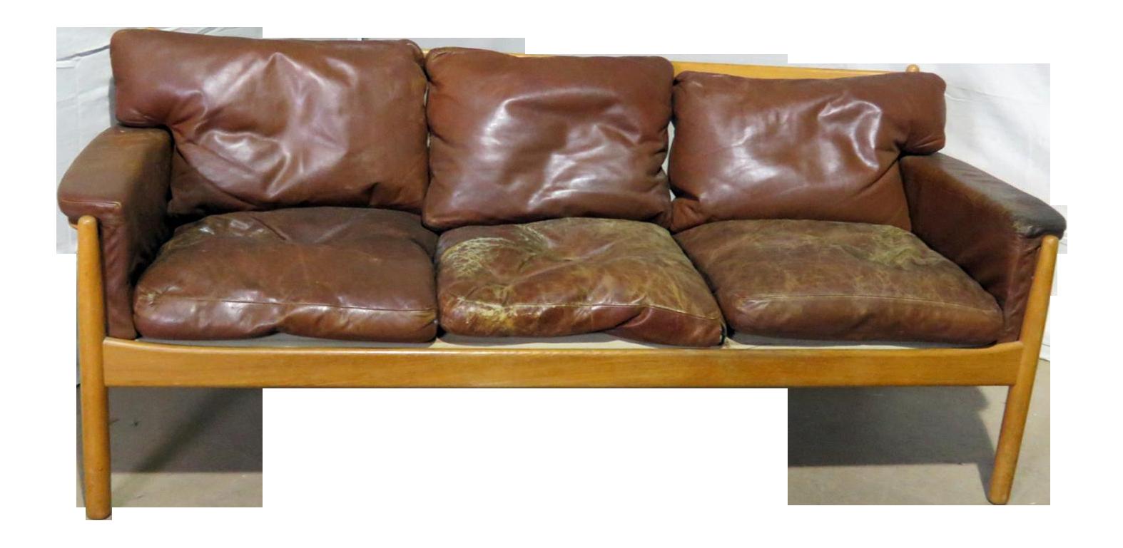 Vintage Mid Century Danish Distressed Leather Sofa