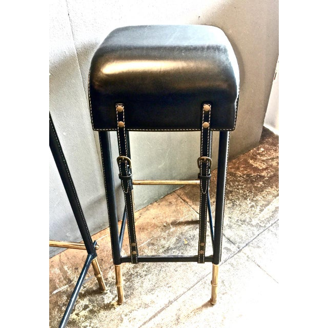 Pair of Jacques Adnet Bar Stools, C. 1950s For Sale In Los Angeles - Image 6 of 12