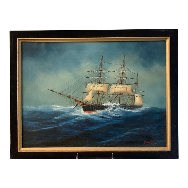Midcentury Oil Seascape Painting of a Sailing Ship For Sale