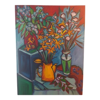 Original Lilies 1 Abstract Still Life Large Painting by Richard Youniss For Sale