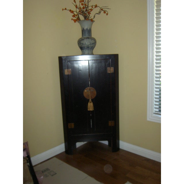 Black Lacquer Asian Corner Cabinet Side Table - Image 2 of 7
