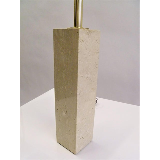 Robsjohn-Gibbings Style Mid-Century Travertine Marble Table Lamp For Sale - Image 9 of 12