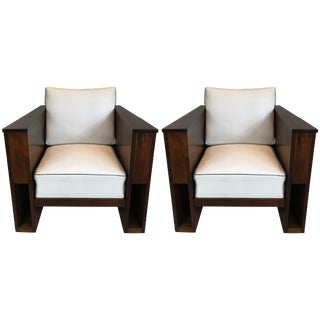 Pair of Art Deco Mahogany Club Chairs For Sale
