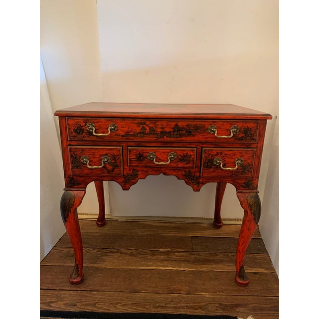 Chelsea House Tomato Red Chinoiserie Chest of Drawers For Sale - Image 13 of 13