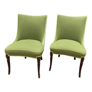 Vintage Apple Green Upholstered Dining Chairs - a Pair