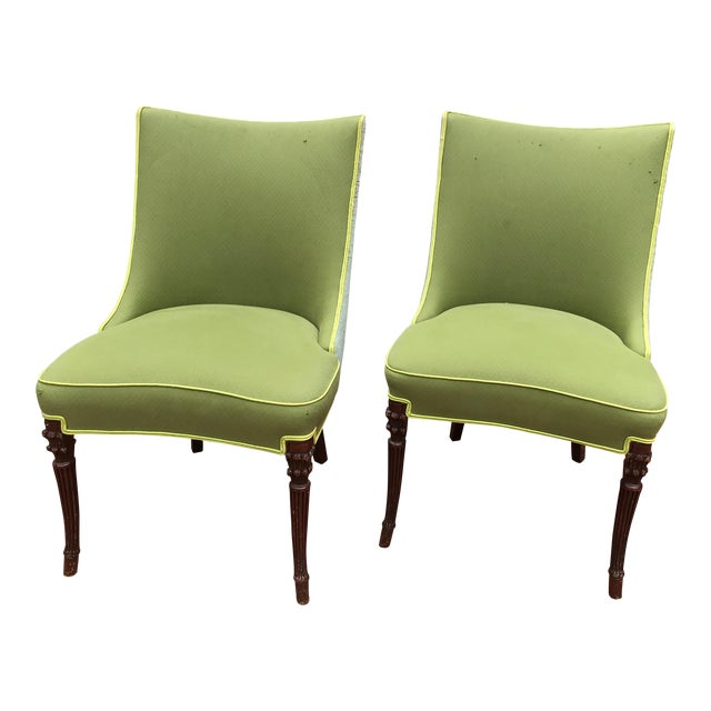 Vintage Apple Green Upholstered Dining Chairs - a Pair For Sale