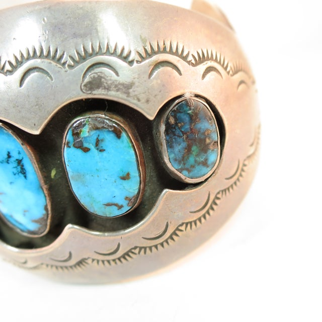 Native American Zuni Turquoise & Sterling Cuff Bracelet, Mabel Watson 1970s For Sale - Image 4 of 12