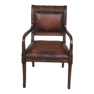 Councill Craftsmen Leather Open Arm Chair For Sale