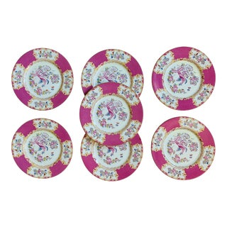 Early 20th Century English Minton Pink Cockatrice Plates - Set of 7 For Sale