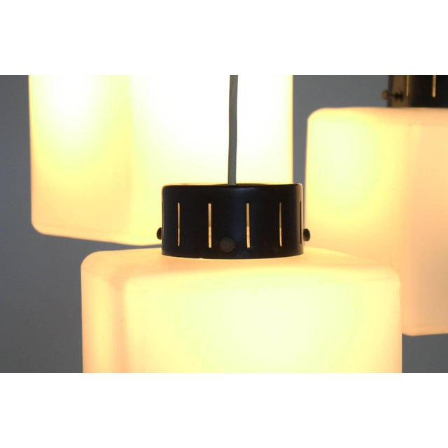 1960s Set of Three Milk Glass Cube Pendants by Stilnovo, Italy, 1960s For Sale - Image 5 of 8