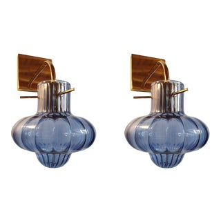 Mid Century Modern Blue Murano Glass Sconces, Vintage Italy 1980s - a Pair For Sale