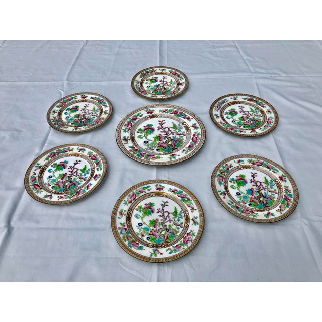 """Royal Doulton Tea Sandwich Hand Painted Porcelain """"Indian Tree"""" Royal Doulton Plates Circa 1930 - Set of 6 For Sale - Image 4 of 10"""
