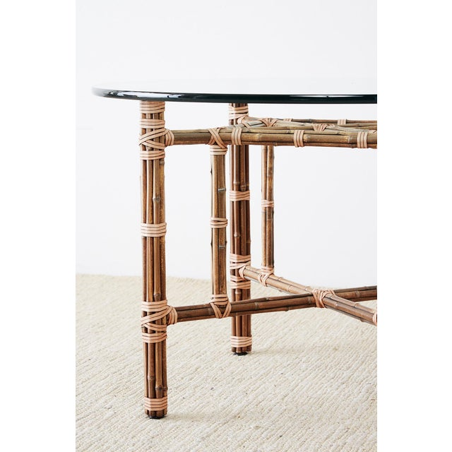 McGuire Organic Modern Bamboo Rattan Dining Table For Sale - Image 11 of 13