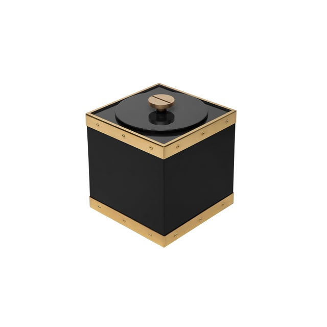 The Lacquer Company Edge Ice Bucket in Black / Brass - Flair Home for The Lacquer Company For Sale - Image 4 of 5