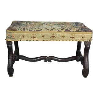 Louis XIV Walnut Os De Mouton Bench With Tapestry Seat