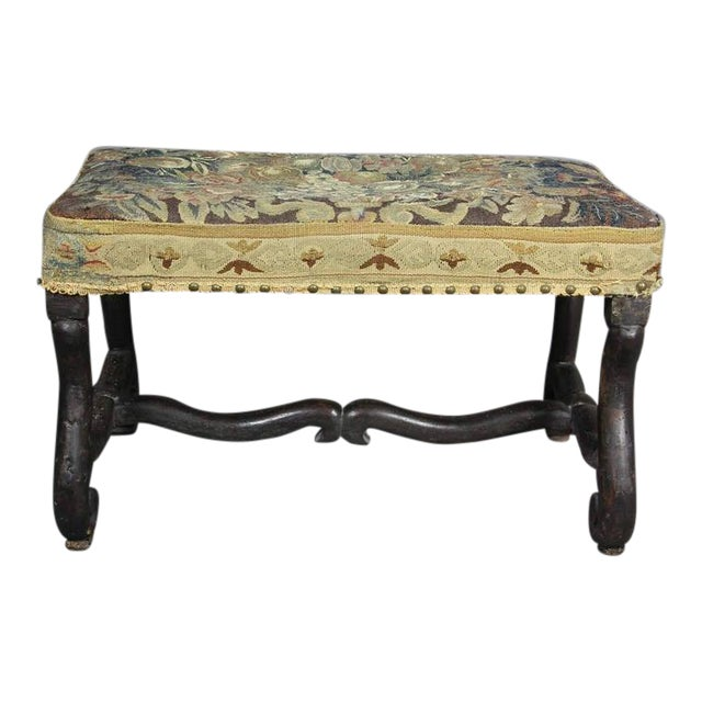 Louis XIV Walnut Os De Mouton Bench With Tapestry Seat For Sale