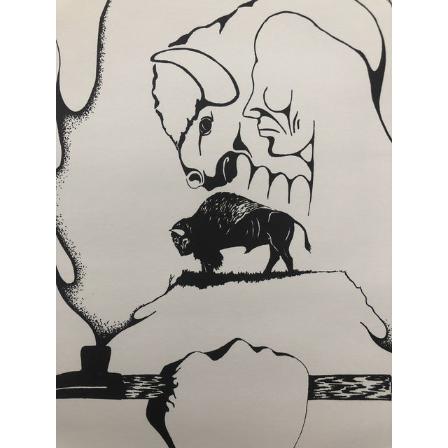Abstract Lithograph by Willy Little Plume 1989 For Sale - Image 4 of 7