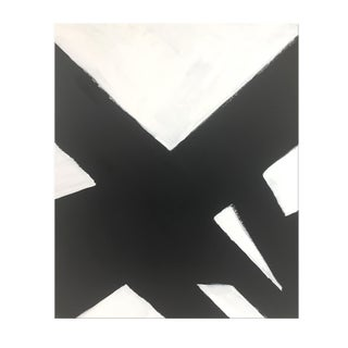 """Abstract Black and White Slash Painting No. 3 - 36x48"""" For Sale"""