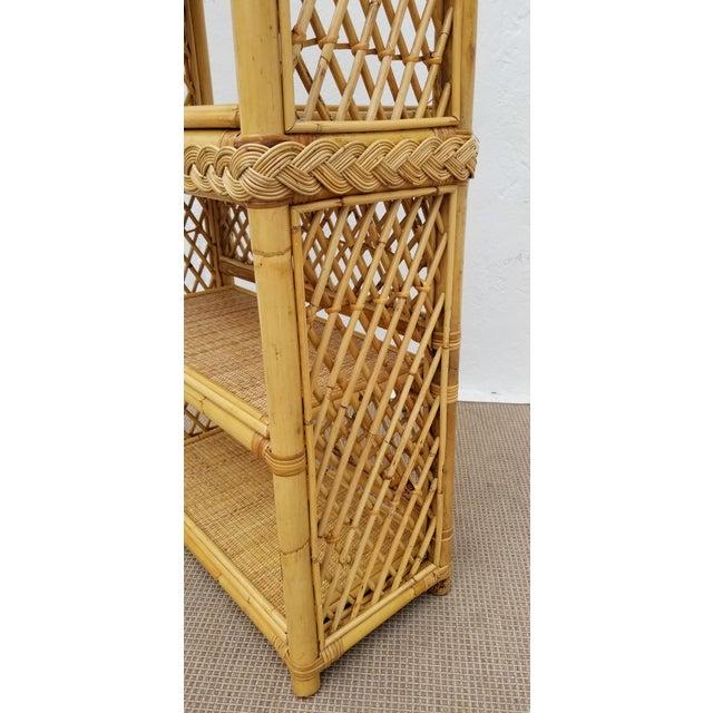 Brown Vintage Boho Chic Bamboo Rattan Etagere Bookshelf For Sale - Image 8 of 10