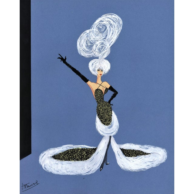 Mid-Century Fun! 1950s Vintage Cabaret Costume Fashion Gouache Drawing For Sale