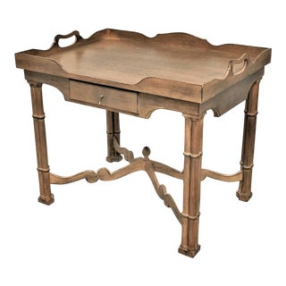 Vintage Neo Georgian Chippendale Oak Tray Table For Sale