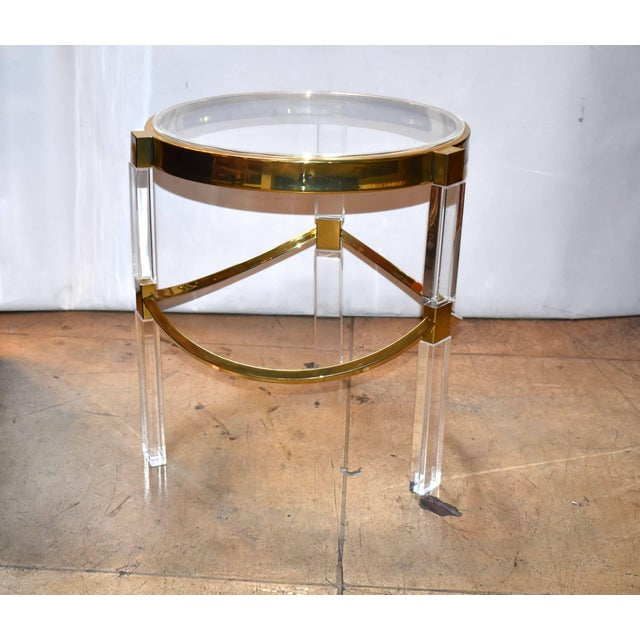 Late 20th Century Pair of Charles Hollis Jones Lucite and Brass Side Tables 'Signed' For Sale - Image 5 of 7