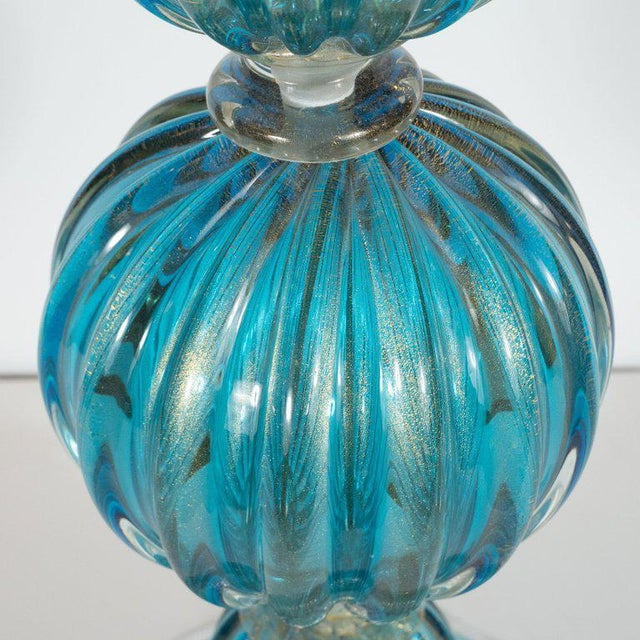 Modernist Ribbed and Banded Turquoise With 24kt Gold Flecks Table Lamps - a Pair For Sale In New York - Image 6 of 7
