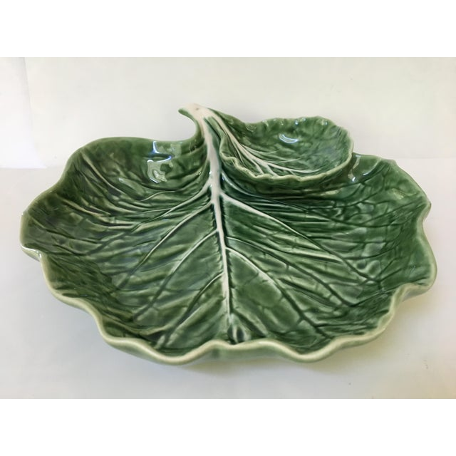 Made in Portugal-Majolica Green Cabbage Leaf Serving Platter and Dip Bowl For Sale - Image 10 of 11