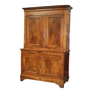 1900s French Country Louis Philippe Double Corps Walnut Sideboard For Sale