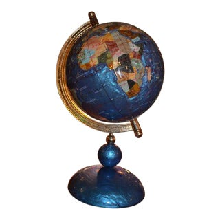 Cobalt Blue World Globe on Stand For Sale