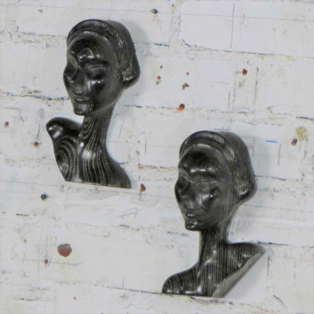 Wood Art Deco Style Ebonized Oak Carved Female Bust Vintage Wall Sculptures, a Pair For Sale - Image 7 of 13