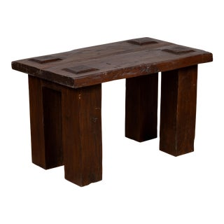 Vintage Indonesian Midcentury Wooden Bench with Raised Motifs and Straight Legs For Sale