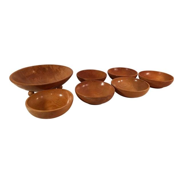 Mid-Century Modern Wooden Salad Bowls - Set of 7 - Image 1 of 11