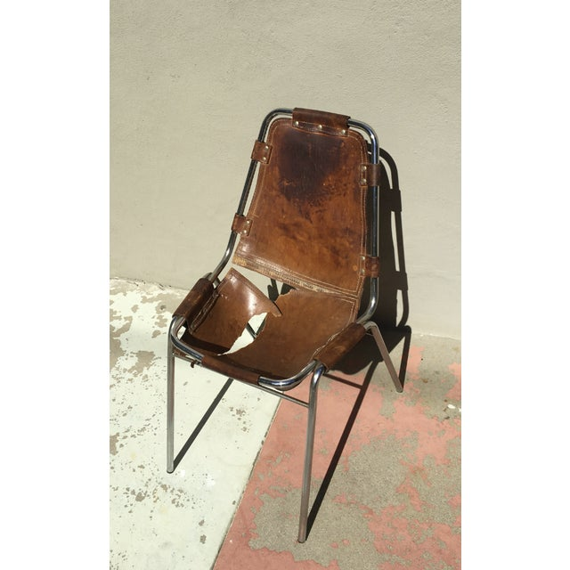 Art Deco Charlotte Perriand Les Arcs Steel & Leather Chairs - Set of 6 For Sale - Image 3 of 3