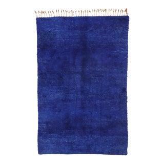 Vintage Indigo Blue Beni Mrirt Moroccan Rug - 06'01 X 09'03 For Sale